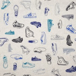 Sneakers fabric in cotton linen beige background