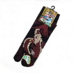 Black and red Japanese tabi socks with dragon and Mt Fuji patterns size 44 to 47