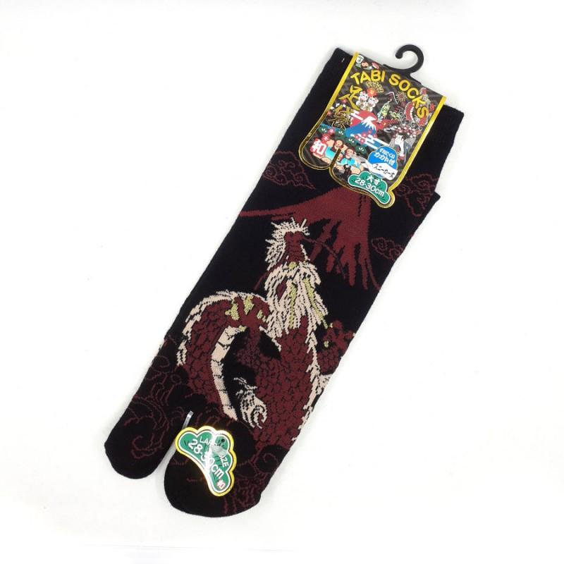 Chaussettes tabi dragon et Mt Fuji noir et rouge pointures 44 45 46 47