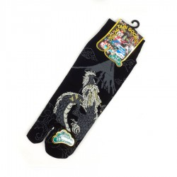 Black and grey Japanese tabi socks with dragon and Mt Fuji patterns size 44 to 47