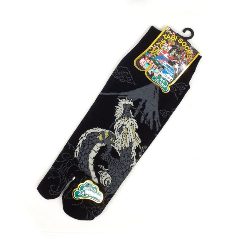 Chaussettes tabi dragon et Mt Fuji noires et grises pointure 44 à 47
