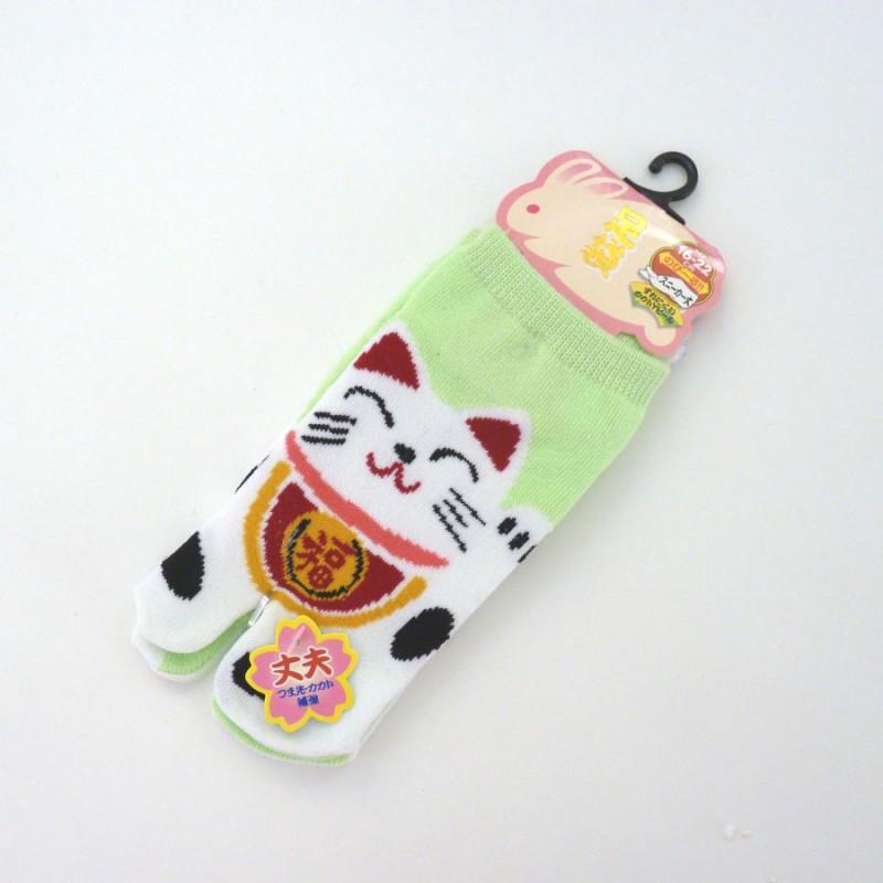 Green Japanese tabi socks for kids with manekineko pattern size 26 to 34