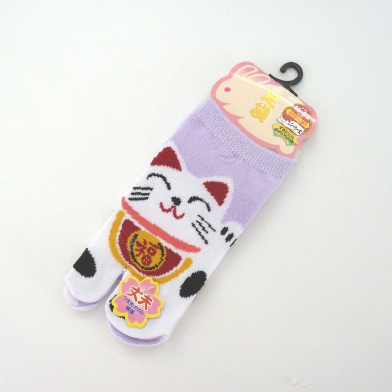 Purple Japanese tabi socks for kids with manekineko pattern size 26 to 34