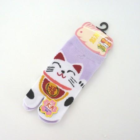 Chaussettes à doigts chat porte-bonheur mauves