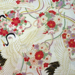 Cranes fabric with cherry blossoms