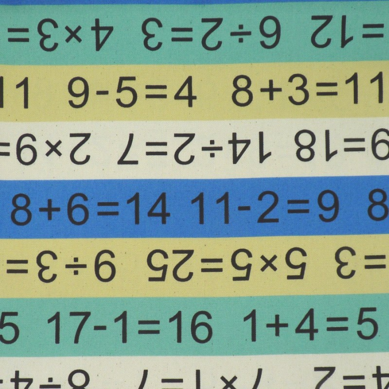 School and mathematics fabric in green blue and yellow