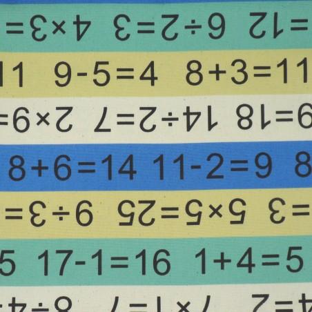 Tissu école et calculs jaune vert bleu