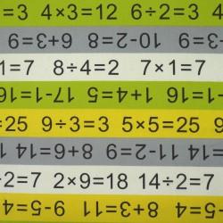 Tissu école et mathématiques gris vert jaune