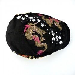 Casquette plate japonaise dragons et fleurs de cerisier