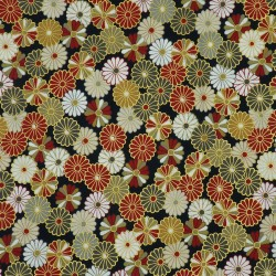Black japanese fabric with red beige grey white and golden chrysanthemums patterns