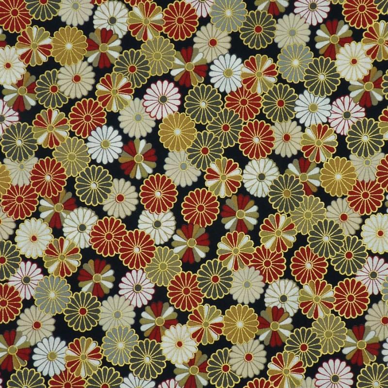 Tissu japonais chrysanthèmes noir rouge beige doré en coton