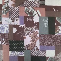 Tissu japonais fluide (type foulardd) marron patchwork de motifs anciens