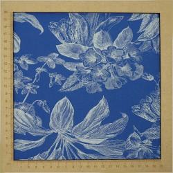 Tissu maillot de bain bleu clair motif tropical plantes
