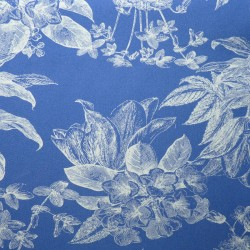 Tissu maillot de bain haut de gamme bleu avec fleurs et plantes