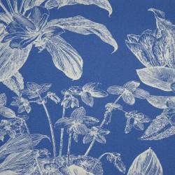 Tissu maillot de bain tropical bleu à motifs blancs