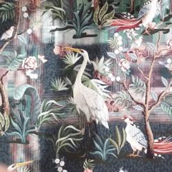 Tissu french terry grues japonaises pour couture de sweats ou robes