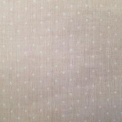 Tissu double gaze rose à pois blanc