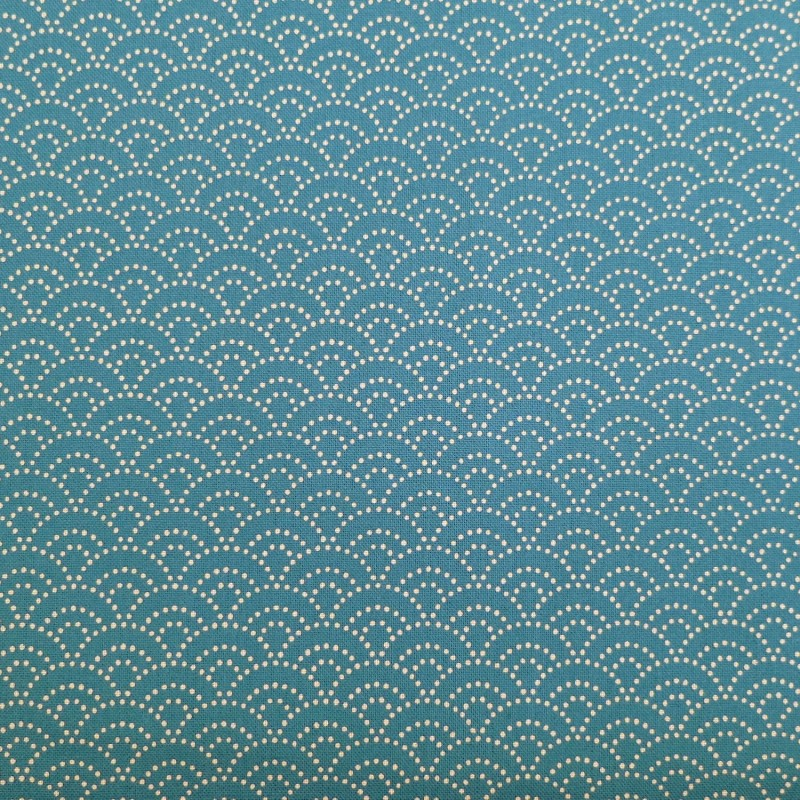 Tissu bleu de prusse petit seigaiha