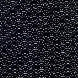 Tissu japonais noir petit seigaiha