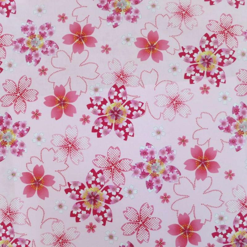 Tissu japonais rose pale fleurs de cerisier