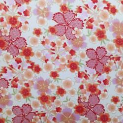 Tissu japonais satin fluide fleurs de cerisier sur fond blanc