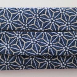 Bias binding asanoha pattern dark blue 20mm wide sold by the meter