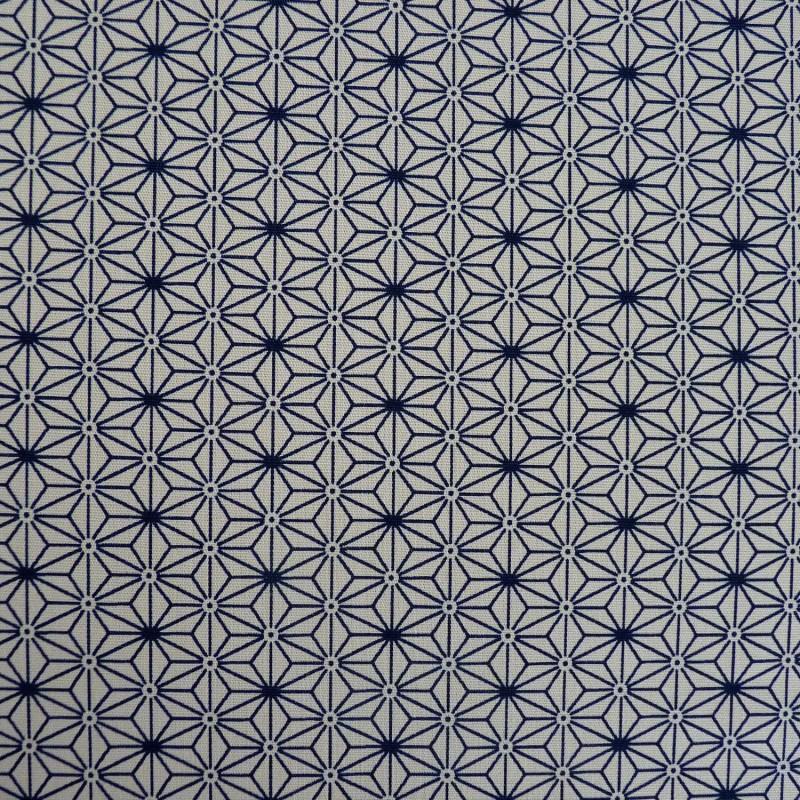 Tissu japonais écru et bleu nuit petit asanoha