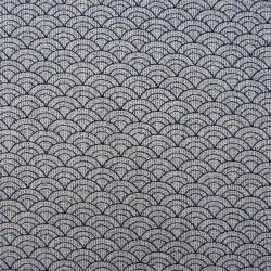 Tissu japonais écru et bleu nuit petit seigaiha vagues traits