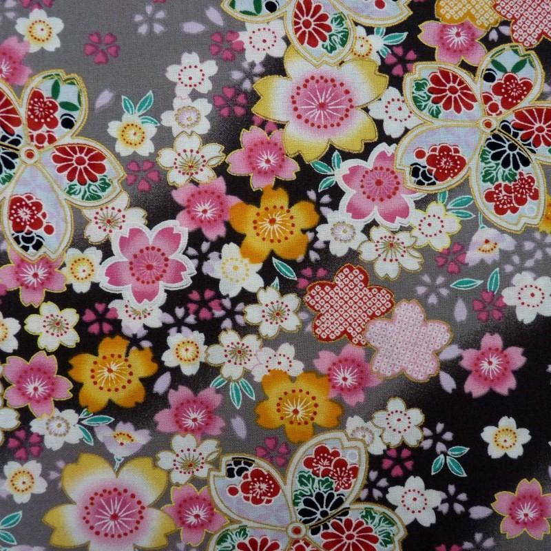 Tissu japonais gris clair et anthracite fleurs de cerisier