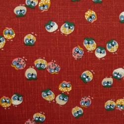 Tissu japonais rouge motifs de hiboux