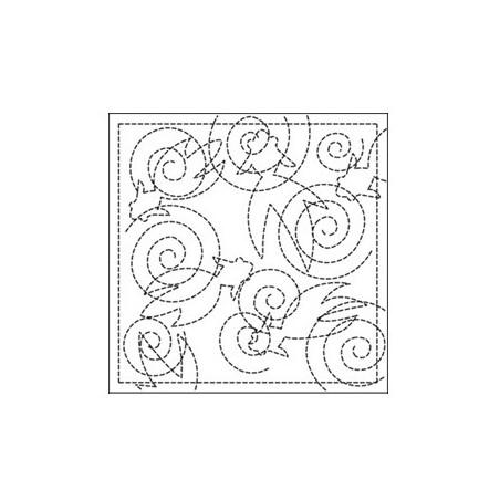 Coupon tissu sashiko blanc pré-imprimé poissons et spirales