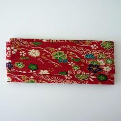 Biais en chirimen rouge à fleurs 2m long 20mm large
