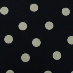 Tissu coton épais bleu nuit à gros pois blancs