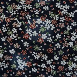 Tissu chirimen noir petites fleurs de cerisier