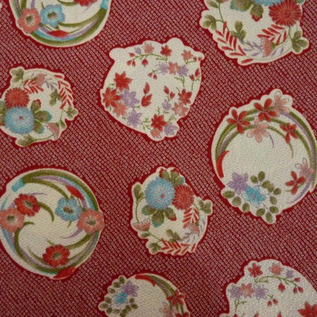 Tissu chirimen rouge motifs shibori et fleurs