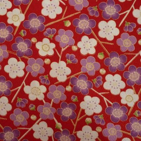 Tissu chirimen fleurs de prunier blanches et violettes sur fond rouge