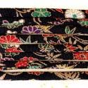 Cordon chirimen noir fleurs 1,8m long 6mm diamètre