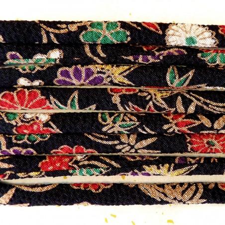 Cordon chirimen noir fleurs vendu au mètre 5mm diamètre