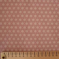 Tissu rose motif petit asanoha écru