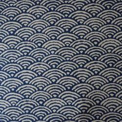 Japanese fabric with big waves indigo pattern