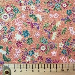 Tissu japonais rose feuilles, papillons et fleurs