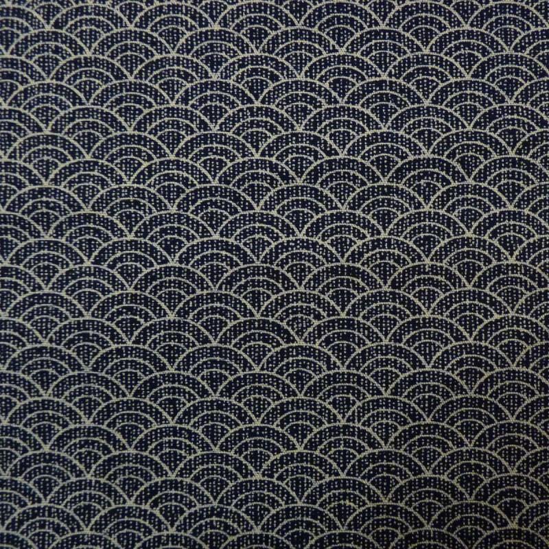 Tissu japonais bleu nuit petit seigaiha vagues