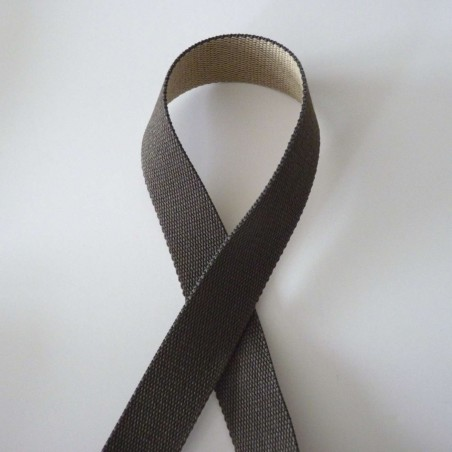 Sangle réversible gris foncé et gris clair 30mm de large vendue au mètre pour anses de sacs