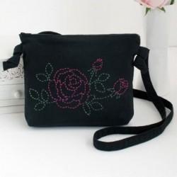Kit sashiko sac bandoulière motif de roses
