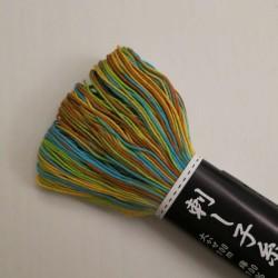 Fil turquoise, jaune, vert et marron pour sashiko 100m (171)