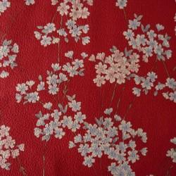 Tissu rouge gaufré motifs de petites fleurs de cerisier