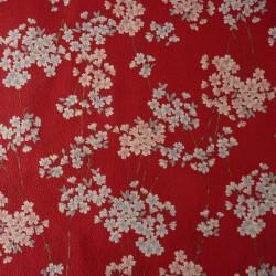 Tissu japonais rouge fleurs de cerisier