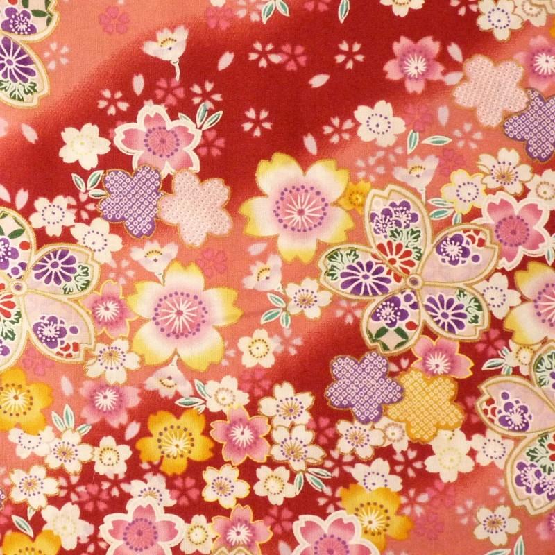 Tissu rouge et rose fleurs de cerisier