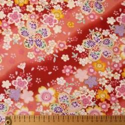 Tissu fleurs de cerisier rouge et rose