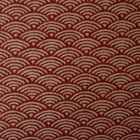 Tissu japonais moyen vagues seigaiha rouge